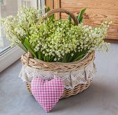 Basket With Lilies Of The Valley (convallaria Majalis)