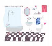 Bathroom cartoon in sketchy style