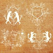 Coats of arms - hand drawn funny design on the wood