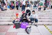 Fans In Costumes Waiting For Opening The 2014 Comic Fiesta.