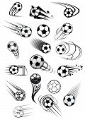 pic of football  - Football or soccer balls with motion trails in black and white for sporting emblems - JPG
