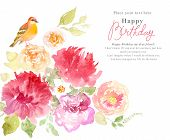 pic of floral bouquet  - Watercolor painting - JPG
