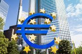 Frankfurt, Germany-August 16 : Euro Sign. European Central Bank (ECB) is the central bank for the euro and administers the monetary policy of the Eurozone. August 16, 2014 in Frankfurt, Germany.