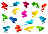 stock photo of twist  - Bright origami twisted arrow banners with copy space in red - JPG