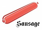 Pink sausage in cartoon style on white background