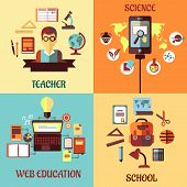 Flat concept for web education, school, science and teacher
