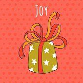 Joy And Gift Drawing Greeting Card