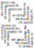 Celtic ornamental corners with colorful segments