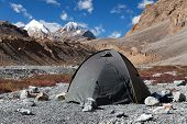 stock photo of tent  - Tent in Himalayan mountains  - JPG