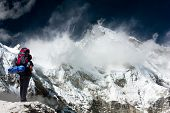 View Of Cho Oyu With Trekker