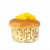 Thai Dessert - Cup Cake With Thai Golden Thread On White