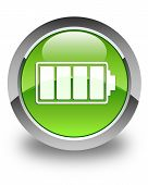 Battery Icon Glossy Green Round Button