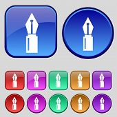 Pen Sign Icon. Edit Content Button. Set Of Colored Buttons. Vector