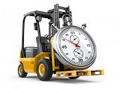 picture of forklift  - Forklift truck with stopwatch  - JPG