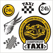 Taxi symbols, and elements for taxi emblem - vector set.