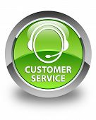 Customer Service Glossy Green Round Button