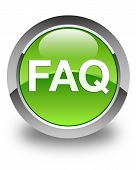 Faq Icon Glossy Green Round Button