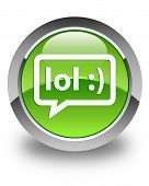 Lol Bubble Chat Icon Glossy Green Round Button