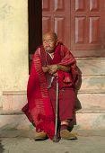 Old Buddhist Monk Near Karmapa International Buddhist Institute,Delhi,India