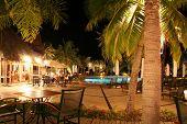 Tropical Hotel pool at night