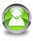 Customer Care Icon Glossy Green Round Button
