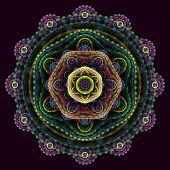 Round 3D Mandala On Purple Background