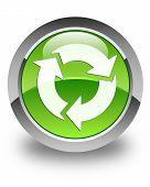 Refresh Icon Glossy Green Round Button