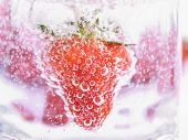 Strawberry In Mineral Water With Boobles