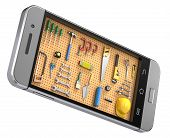 stock photo of pegboard  - Pegboard with tools in the mobile phone  - JPG