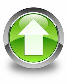 Upload Arrow Icon Glossy Green Round Button
