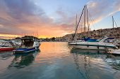 stock photo of piraeus  - Sunset in Mikrolimano marina in Athens - JPG