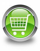 E-commerce Icon Glossy Green Round Button