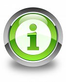 Info Icon Glossy Green Round Button