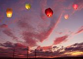 Multi-colored Lanterns In The Sky