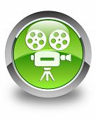 Video Camera Icon Glossy Green Round Button