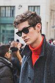 Beautiful Model Outside Ferragamo Fashion Show Building For Milan Men's Fashion Week 2015