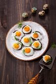 pic of canapes  - Preparation quail egg canapes with pumpernickel bread for Easter - JPG