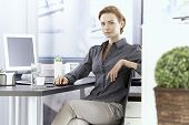 Attractive young businesswoman sitting at desk in office.