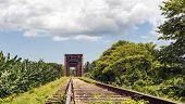 Iron Bridge In A Railroad