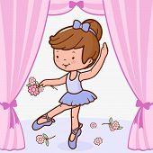 Ballerina girl dancing on stage
