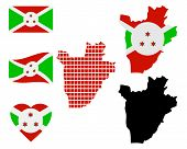foto of burundi  - map of Burundi and the different types of characters on a white background - JPG