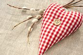 Homemade Sewed Red Cotton Love Heart With Spring Willow Twig
