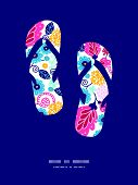 Vector fairytale flowers flip flops silhouettes pattern frame