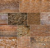 Red brick wall textures collection