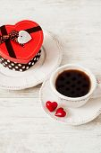Valentine's Day Tea Set With Cup Of Coffee And Gift Box