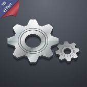 Cog Settings Icon Symbol. 3D Style. Trendy, Modern Design With Space For Your Text Vector