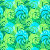 green and blue roses pattern