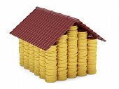 Golden Coins House Isolated On White Background