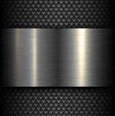 stock photo of titanium  - Metal plate texture on carbon fiber background - JPG