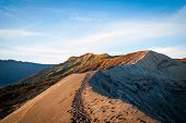 pic of bromo  - The edge of Bromo volcanic crater Java Indonesia - JPG